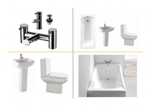 Eastbrook Andelle Bathroom Suite Inc Carron Delta Bath & Panel - Various Sizes